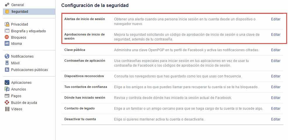 Seguridad en Faceboook