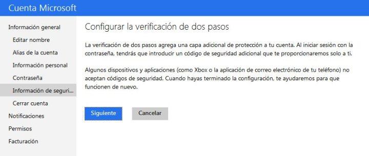 Establecer verificación en dos pasos Outlook o Hotmail