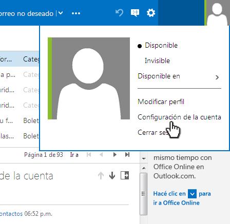 Opciones de cuenta de Outlook