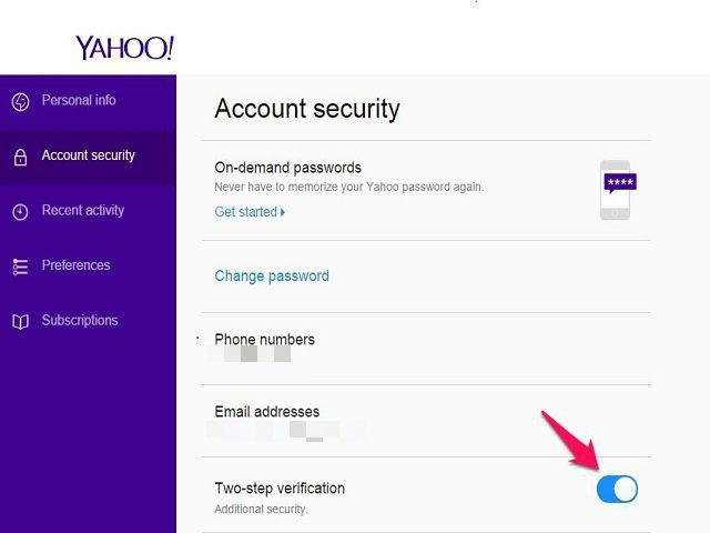 Verificación en dos pasos de Yahoo