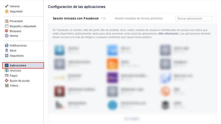 Configurar aplicaciones de Facebook