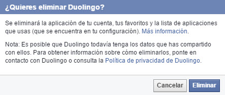 Eliminar datos de apps en Facebook
