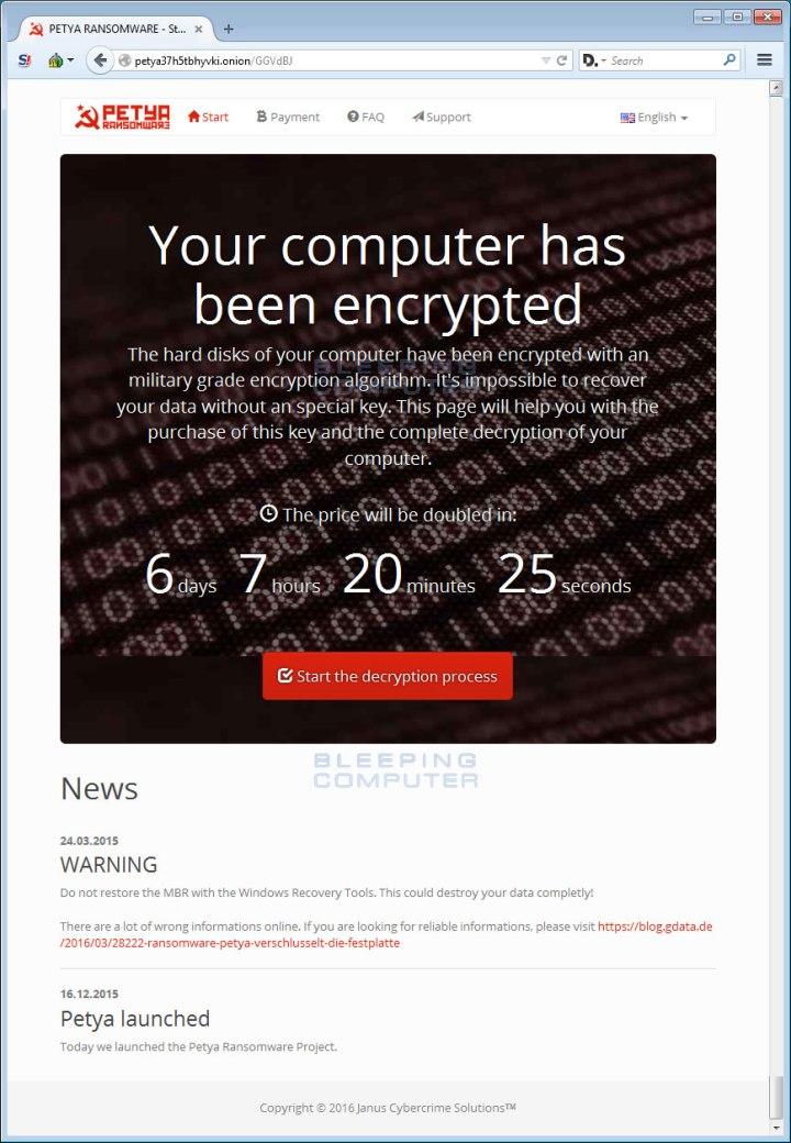 Sitio web de los creadores del ransomware Petya
