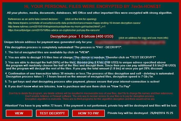 Hoja de pago del nuevo ransomware 7ev3n-HONE$T