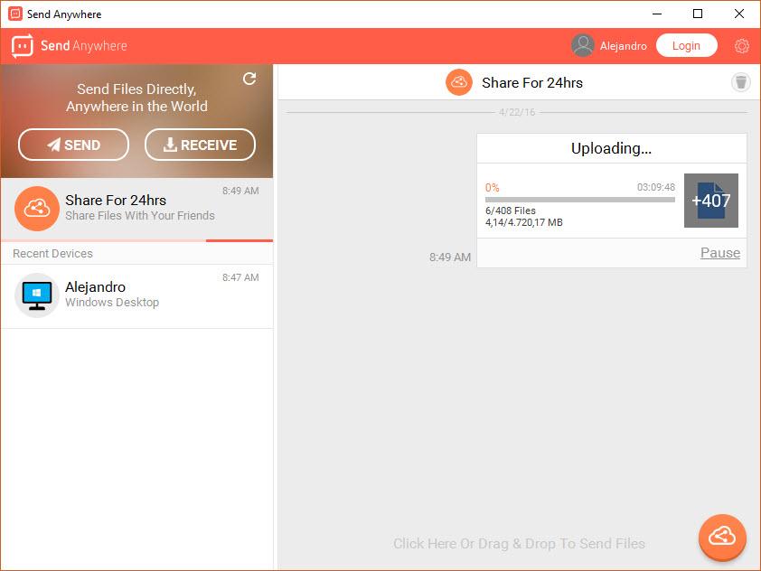 Compartiendo 24 horas con Send Anywhere
