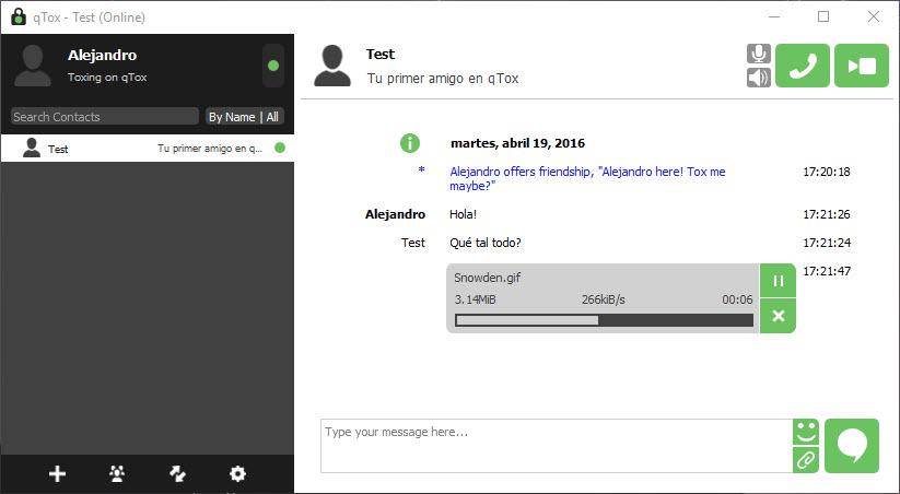 Envío de archivos mediante Tox
