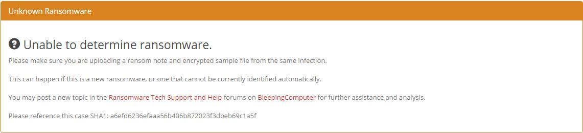 ID ransomware resultado irreconocible