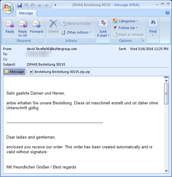 Métodos de infección del ransomware Locky: carpeta ZIP