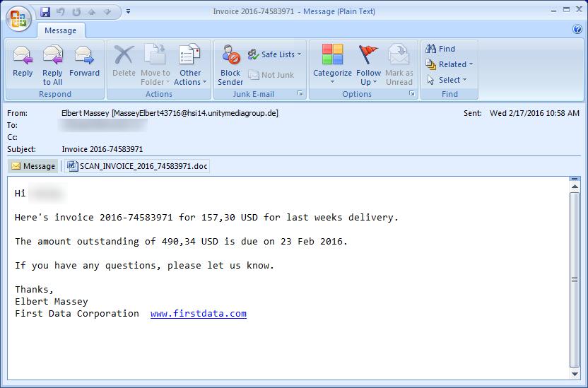 Métodos de infección del ransomware Locky