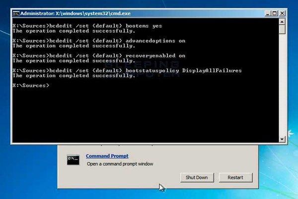 Opciones de recuperación de Windows