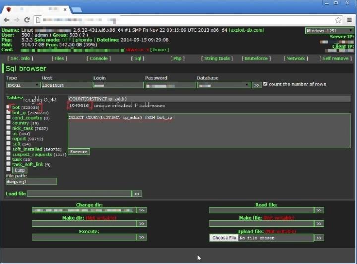 Panel de control de la botnet QBot