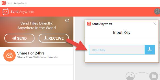 Recibir archivos desde Send Anywhere