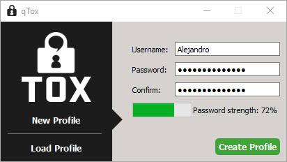 Cliente Tox, creación de cuenta