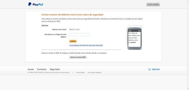 Activar un número de móvil en PayPal, como medio de seguridad