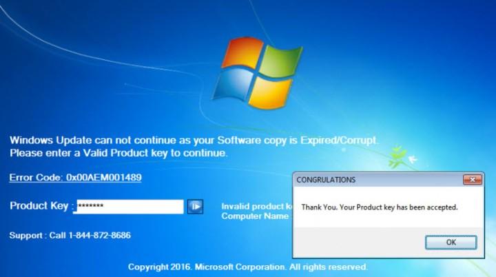 Clave de producto de Windows aceptada