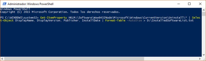 Comando mediante Windows PowerShell