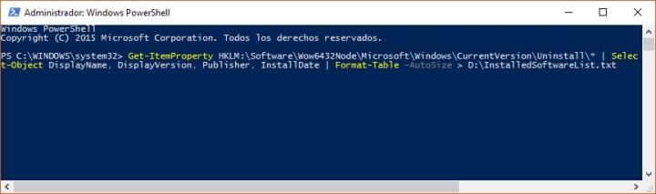 Comando mediante Windows PowerShell