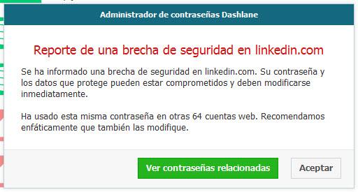 Contraseñas hackeadas en LinkedIn