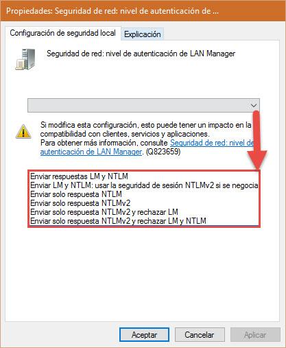 Desactiva LM y NTLM versión 1