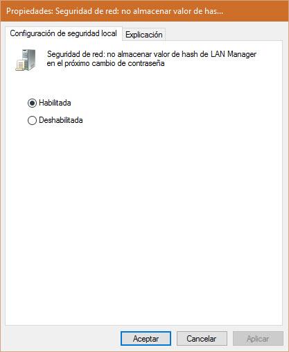 Deshabilitar el almacenamiento de hash para Lan Manager