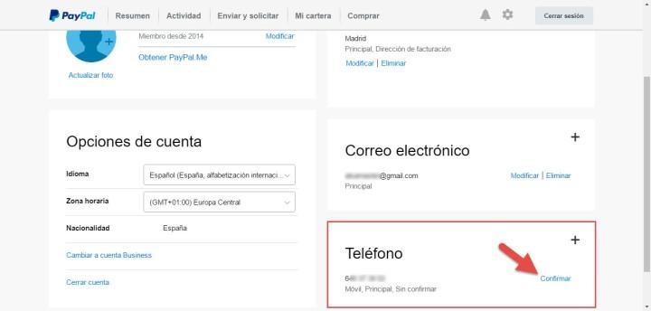 Establecer la verificación en dos pasos para PayPal