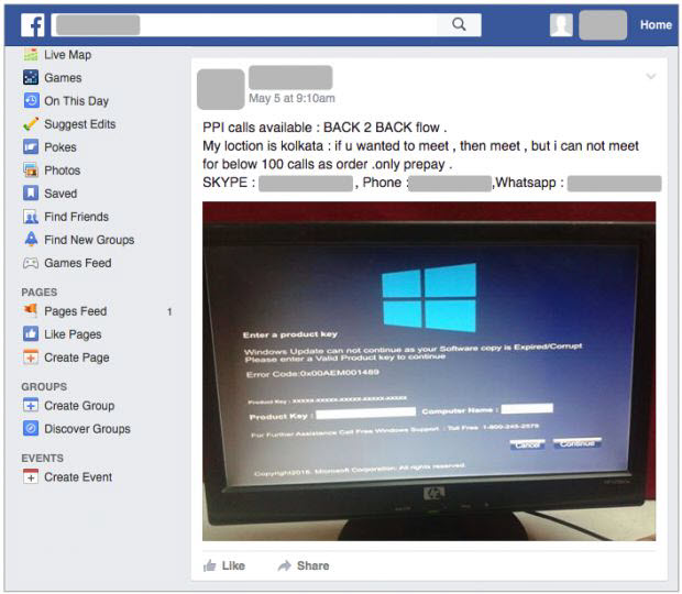 Falso soporte técnico bloquea tu PC, también distribuído en Facebook