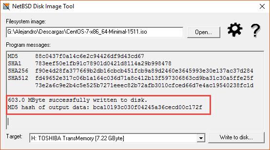 Instalar CentOS desde USB con Rawrite32 - Resultados
