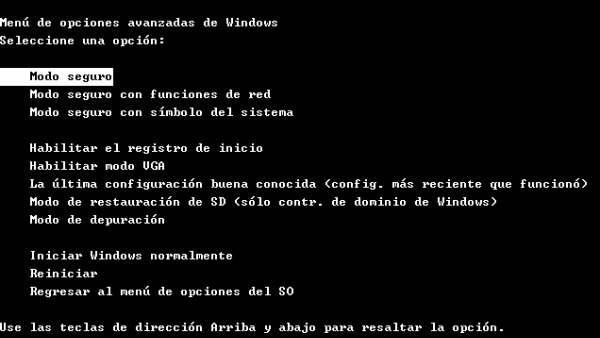 Modo seguro de Windows
