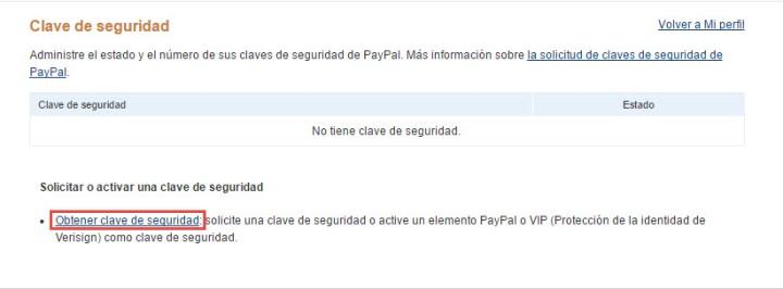 Obtener clave de seguridad de PayPal