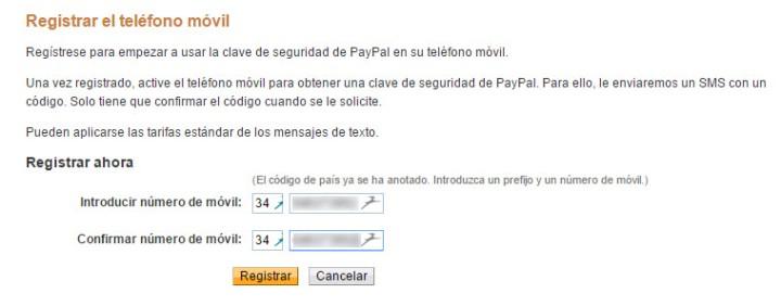 Registrar teléfono móvil en PayPal