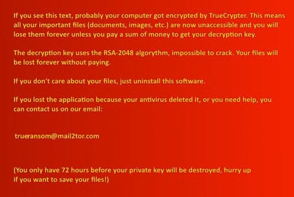 Truecrypter - Mensaje de demanda