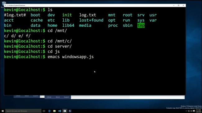 Línea de comandos de Linux en Windows 10