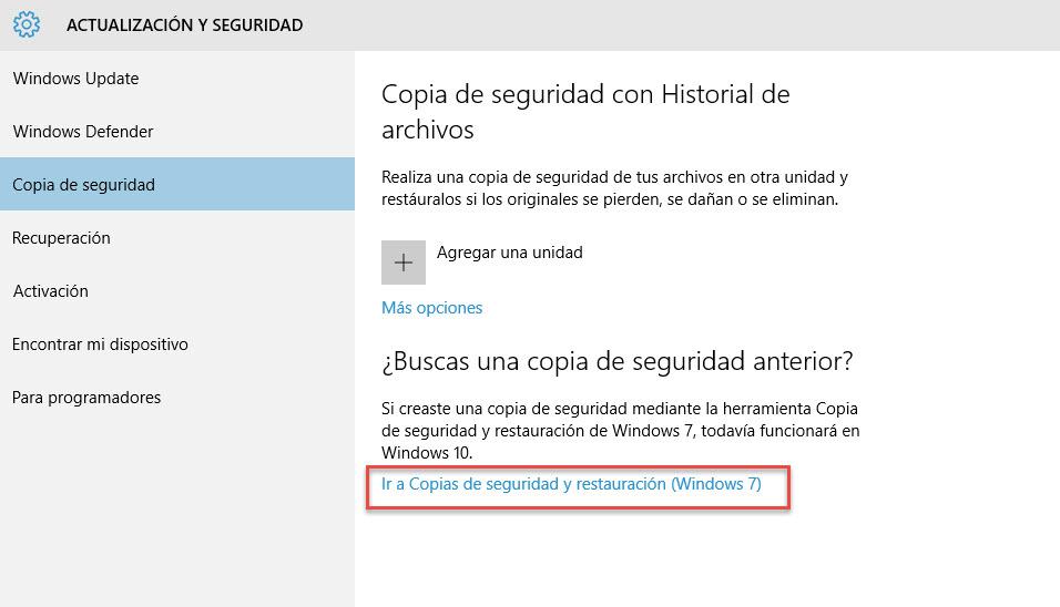 Crear una imagen de sistema en Windows 10 3