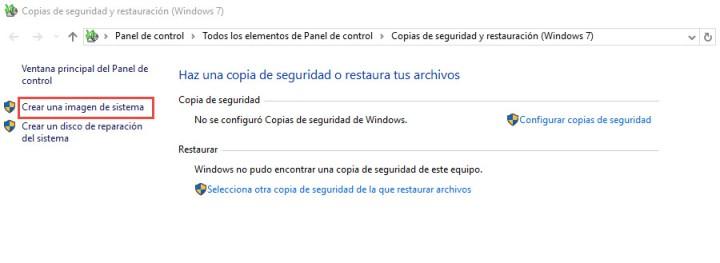 Crear una imagen de sistema en Windows 10 4