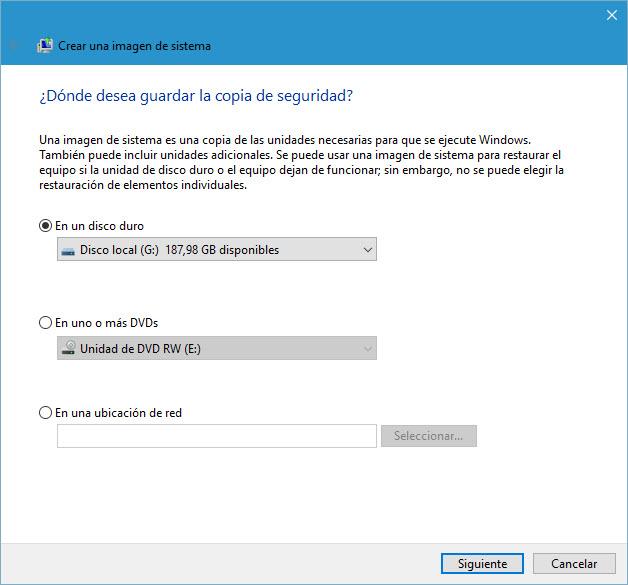 Crear una imagen de sistema en Windows 10 5