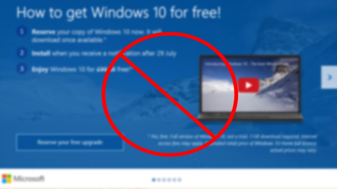 Evitar la actualización a Windows 10