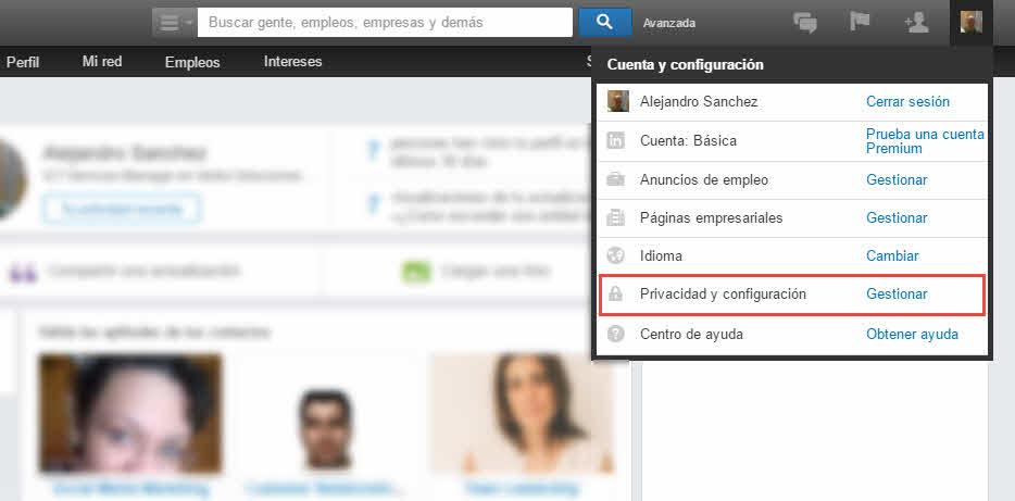 Privacidad y configuración LinkedIn