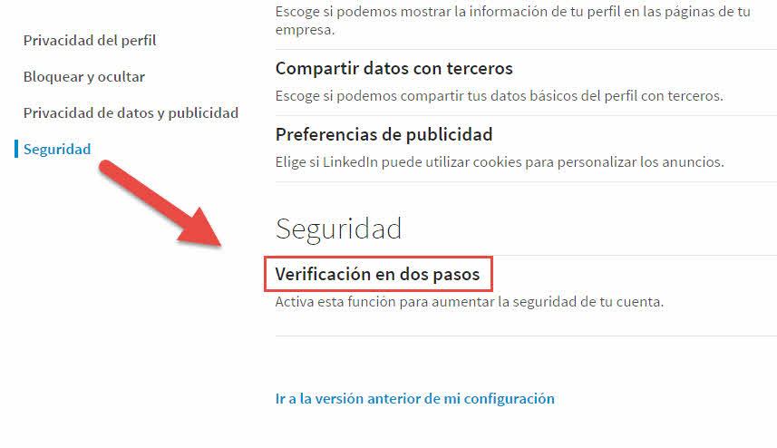 Verificación en dos pasos para LinkedIn