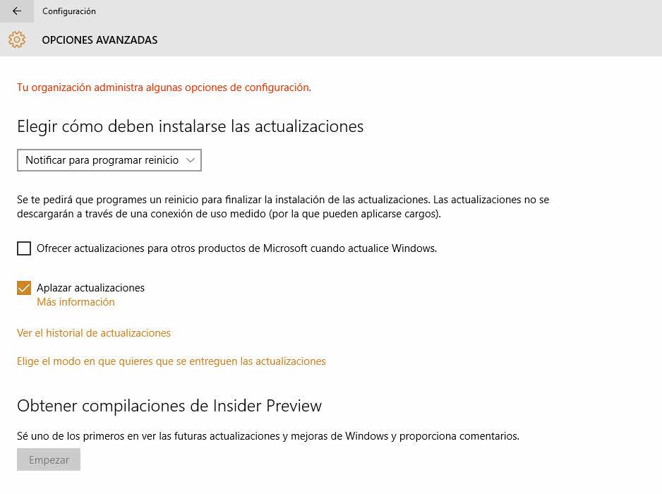 Aplazar actualizaciones de Windows 10
