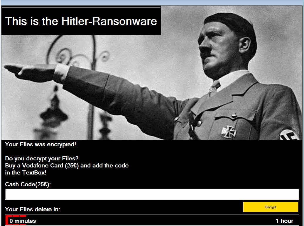 Pantalla de bloqueo de Hitler Ransomware