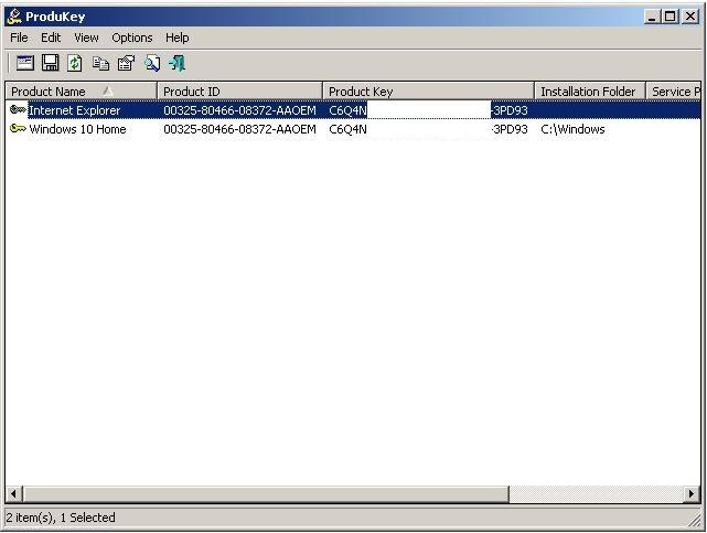 Extraer clave de Windows con produkey