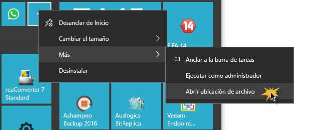Atajos de teclado para programas en Windows 10