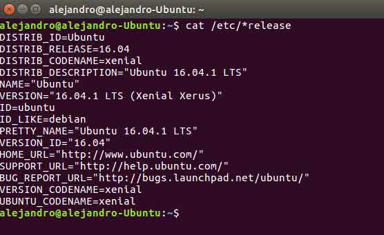 Comprobar version de Linux mediante consola