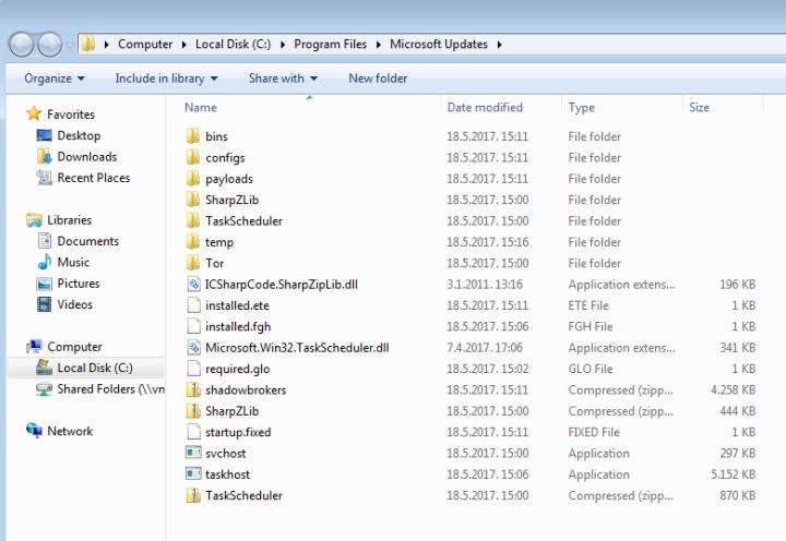 Malware desplegado por EternalRocks
