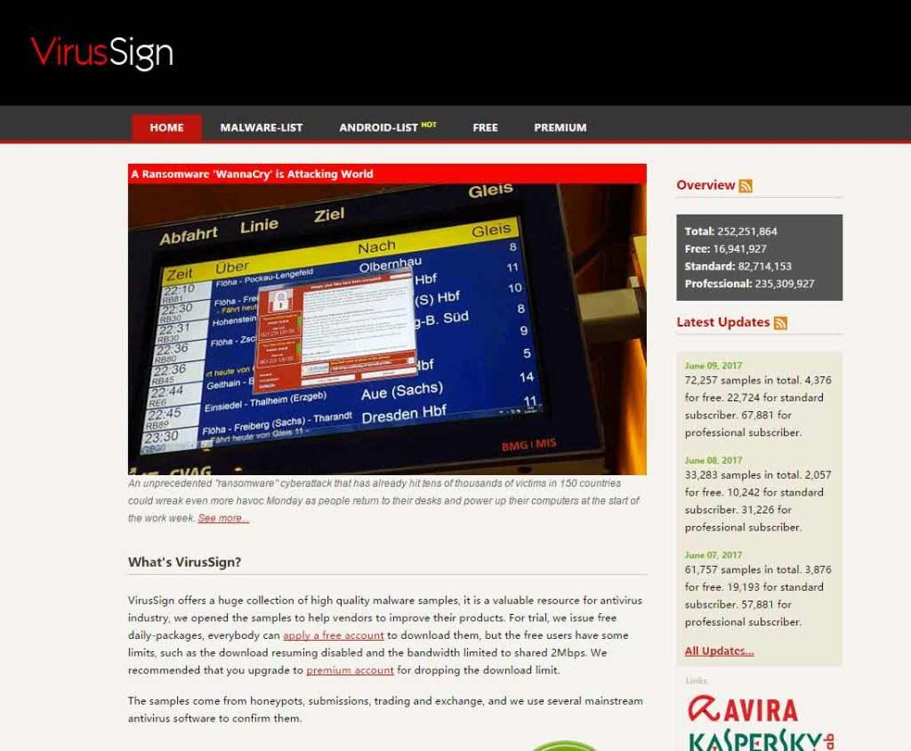 VirusSign.com descarga de virus y otras muestras de malware