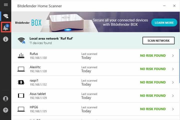 Notificaciones de Bitdefender Home Scanner