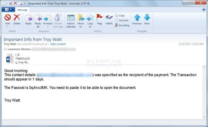 Spam conteniendo un archivo word protegido por contraseña