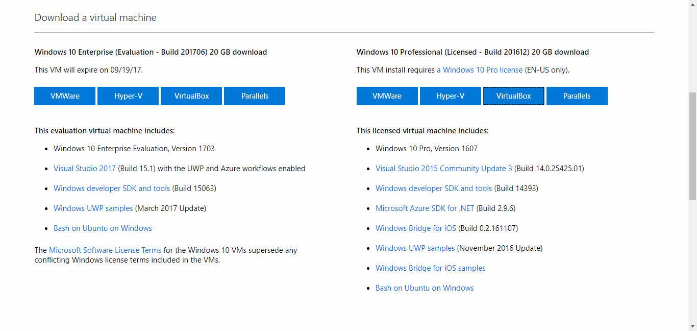 Descargar máquinas virtuales de Microsoft Windows