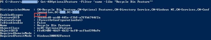 Get-ADOptionalFeature Recycle Bin Feature