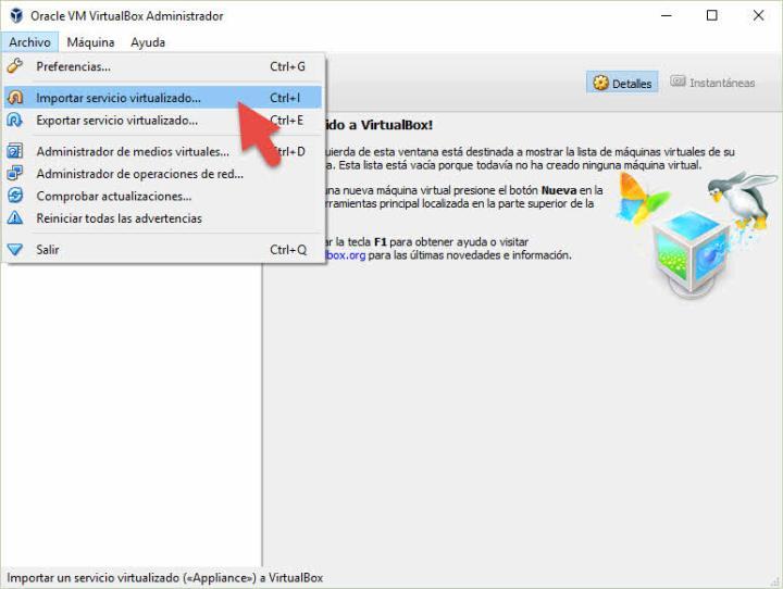 Importar servicio virtualizado en Virtualbox
